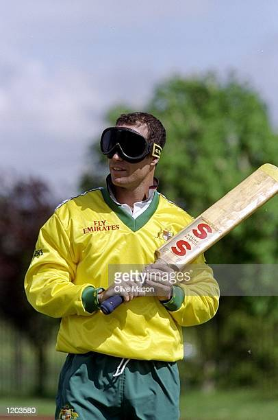 Michael Bevan of Australia partakes in Blind Cricket in Worcester England Mandatory Credit Clive Mason /Allsport