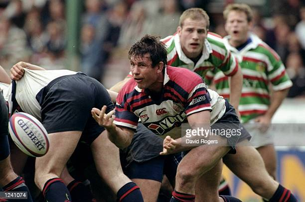 Mike Brewer of West Hartlepool passes the ball out of the scrum during the Allied Dunbar Premiership One match against Leicester played at Welford in...