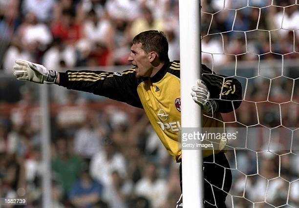Milan goalkeeper Christian Abbiati directs his troops during the Serie A match against Perugia at the Stadio Renato Curi in Perugia Italy The match...
