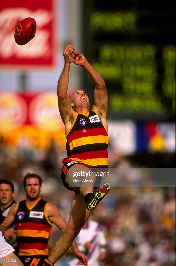 Nigel Smart of the Adelaide Crows marks the ball during the Round 6 AFL Football match against Port Adelaide played at Football Park in Adelaide, Australia. \ Mandatory Credit: Nick Wilson /Allsport
