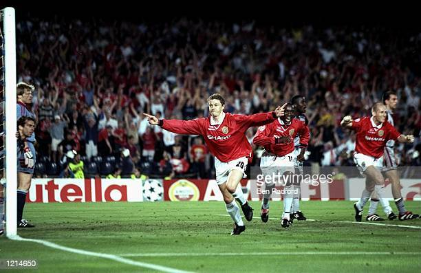 Ole Gunnar Solskjaer of Manchester United celebrates his late winner during the UEFA Champions League Final against Bayern Munich at the Nou Camp in...