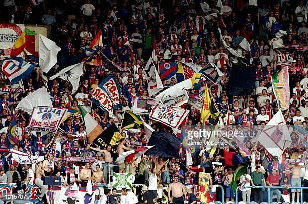 Paris St Germain fans during the French Division One match against Bordeaux at the Parc des Princes in Paris Bordeaux won 32 to clinch the title...