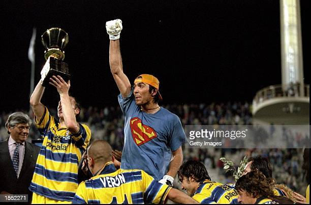 Parma goalkeeper Gianluigi Buffon celebrates victory in the Coppa Italia Cup Final match against Fiorentina played in Fiorentina Italy The match...