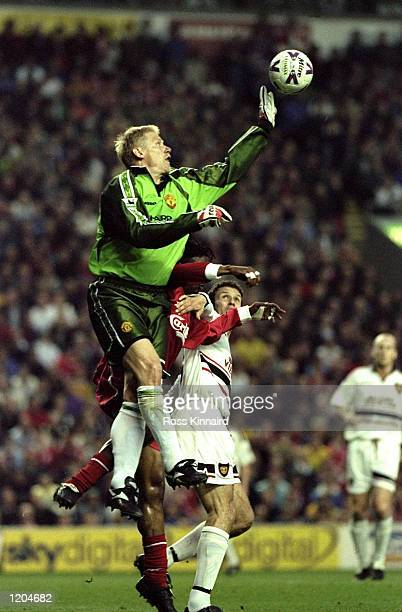 Peter Schmeichel of Manchester United in action during the FA Carling Premiership match against Liverpool played at Anfield in Liverpool England The...
