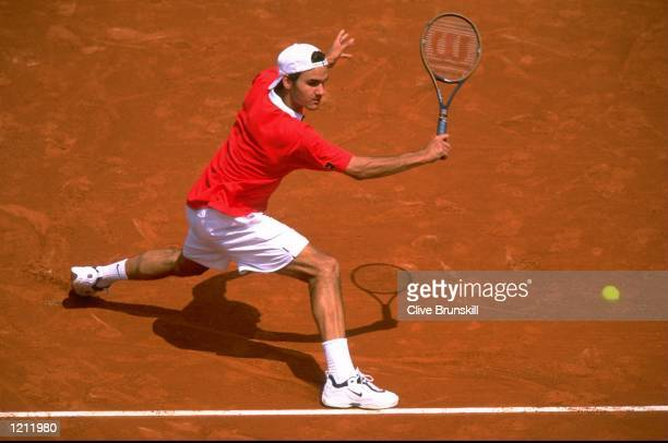 Roger Federer of Switzerland in action during Round One of the French Open at Roland Garros in Paris FranceFederer lost in 4 sets Mandatory Credit...