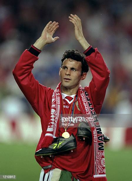 Ryan Giggs of Manchester United celebrates after United beat Bayern Munich in the European Champions League Final in the Nou Camp Stadium Barcelona...