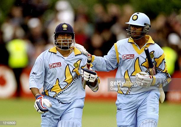 Sachin Tendulkar and Rahul Dravid of India during the Cricket World Cup Group A match against Kenya played in Bristol England India won the game by...