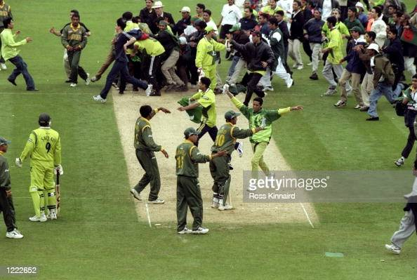 The Bangladesh fans storm the pitch after Bangladesh won the Cricket World Cup Group B match against Pakistan played in Northampton England...
