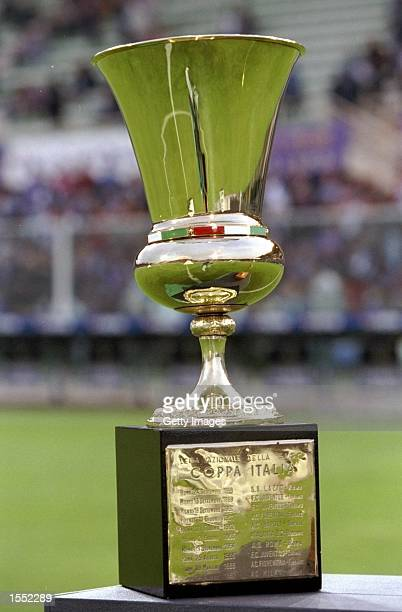 The Coppa Italia Trophy is shown before the Coppa Italia Cup Final match against Fiorentina played in Fiorentina Italy The match finished in 22 draw...