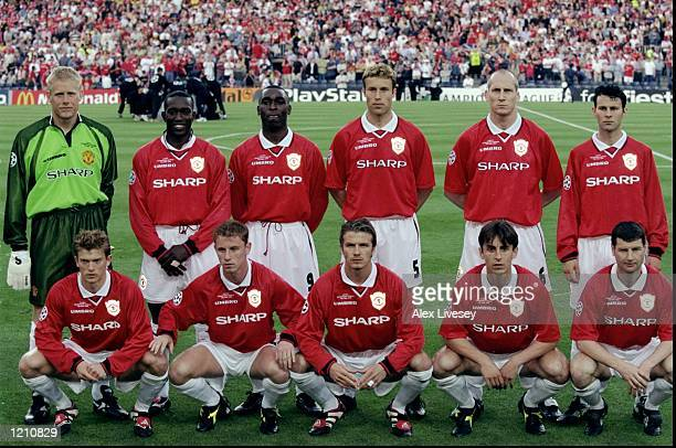 The Manchester United team before the Champions League Final against Bayern Munich in the Nou Camp Stadium Barcelona Spain Manchester United won 2 1...