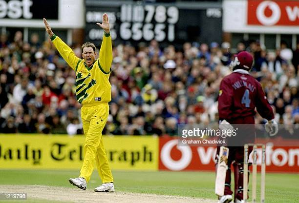 Tom Moody of Australia takes the wicket of Stuart Williams of the West Indies in the World Cup Group B game at Old Trafford in Manchester England...