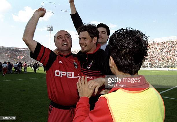 Zvonimir Boban of AC Milan celebrates victory after the Serie A match against Perugia at the Stadio Renato Curi in Perugia Italy The match finished...