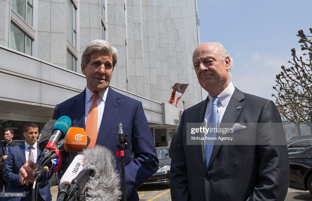 GENEVA, May 2, 2016 -- U.S. Secretary of State John Kerry, left, and UN Special Envoy for Syria Staffan de Mistura hold a press conference after their meeting in a hotel in Geneva, Switzerland, May 2, 2016. U.S. Secretary of State John Kerry on Monday urged all parties to the Syrian conflict to end violence and restore the cessation of hostilities during his second day trip here for talks focusing on the Syrian situation.