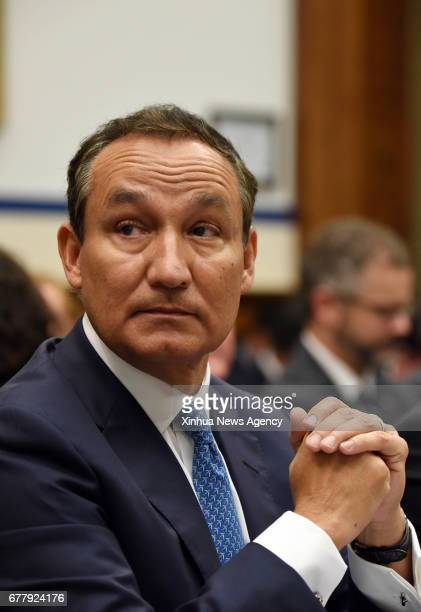 WASHINGTON May 2 2017 United CEO Oscar Munoz prepares to testify before the House Transportation and Infrastructure Committee on customer service...