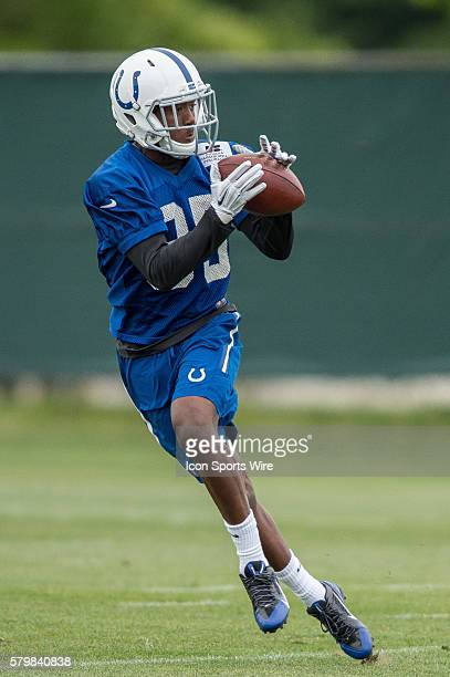 Indianapolis Colts wide receiver Ryan Lankford catches a pass during the Indianapolis Colts organized team activities at Indiana Farm Bureau Football...