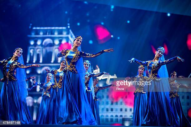 May 20 Baku Crystal Hall Baku Azerbaijan A performance at the 57th Eurovision Song Contest Light your Fire inspired by Azerbaijans history as a land...