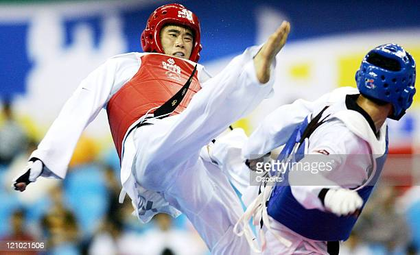 May 20 Beijing US's Steven Lopez wins the men's lightweight title over Korea's Jang Chang Ha 10 in sudden death overtime at the 2007 World Taekwondo...