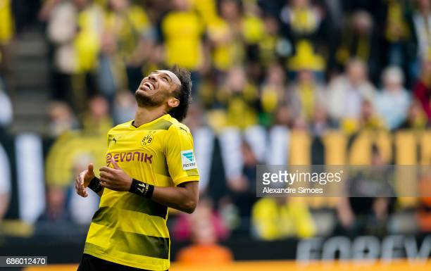DORTMUND GERMANY May 20 PierreEmerick Aubameyang of Borussia Dortmund celebrates after scoring the winning goal to the 43 during the Bundesliga match...