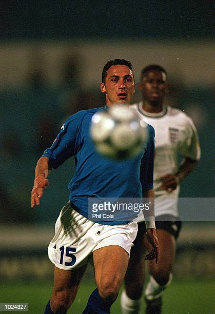 Bruno Cirillo of Italy in action during the European Under 21 Championships Group B match against England at the Slovan Stadium Bratislava Slovakia...