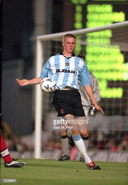 Callum Davenport of Coventry City in action during the Times FA Youth Cup Final second leg against Arsenal at Highbury in London Arsenal won the...