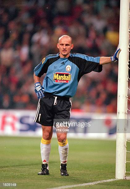 Claudio Taffarel of Galatasaray during the UEFA Cup final against Arsenal at the Parken Stadium in Copenhagen Denmark The match finished 00 after...