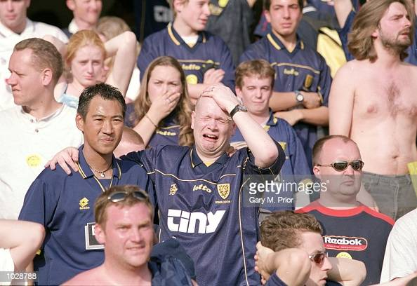 Despair for fans as Wimbledon are relegated after defeat against Southampton during the FA Carling Premiership match at the Dell in Southampton...