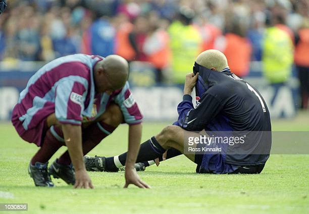 Despair for Goalkeeper David James and Dion Dublin of Aston Villa after losing to Chelsea in the AXA FA Cup Final at Wembley Stadium in London...