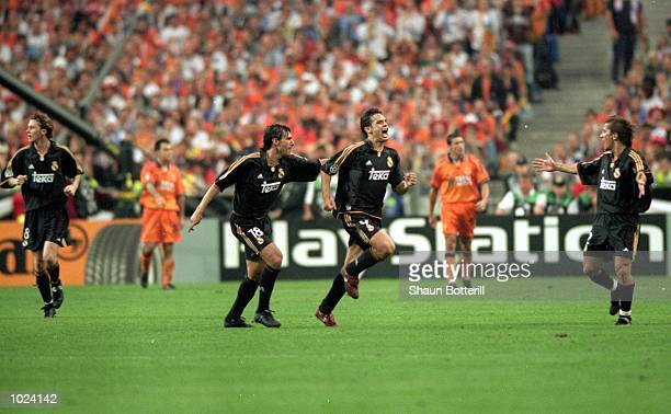 Fernando Morientes of Real Madrid celebrates during the European Champions League Final 2000 against Valencia at the Stade de France SaintDenis...