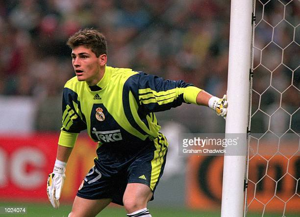 Iker Casillas of Real Madrid in action during the European Champions League Final 2000 at the Stade de France SaintDenis France Real Madrid won 30...