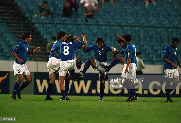 Italy celebrate during the European Under 21 Championships Group B match against England at the Slovan Stadium Bratislava Slovakia Italy won 20...