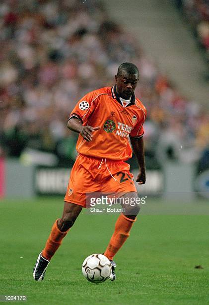 Jocelyn Angloma of Valencia in action during the European Champions League Final 2000 against Real Madrid at the Stade de France SaintDenis France...