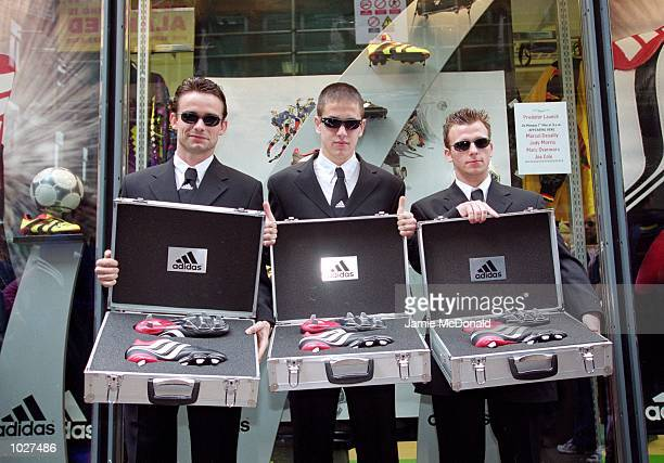 Marc Overmars Joe Cole and Jody Morris during a feature shoot to present the new Adidas Equipment Predator Precision Boots at Soccer Scene in London...