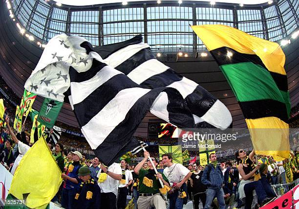 Nantes Fans during the French Cup Final against Calais at the Stade de France in St Denis Paris France Mandatory Credit Jamie McDonald /Allsport