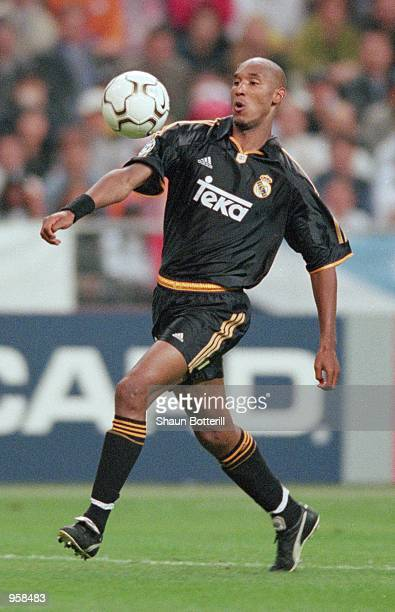 Nicolas Anelka of Real Madrid controls the ball during the UEFA Champions League Final against Valencia played at the Stade De France in Paris France...
