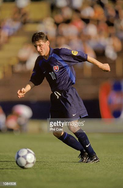 Peter Babnic of Slovakia in action during the European Under21 Championships match against Turkey played at the Inter Stadium in Bratislava Slovakia...