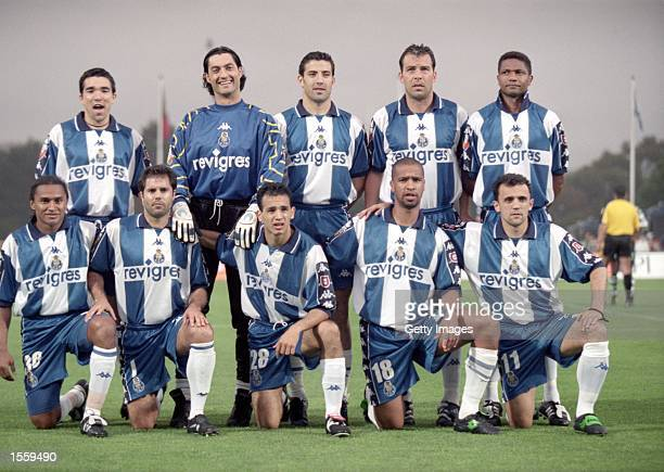 Porto pose for a team photograph before the Portuguese Cup Final Replay against Sporting Lisbon at the Estadio Nacional in Lisbon Portugal Porto won...