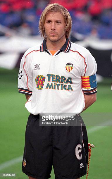 Portrait of Valencia captain Gaizka Mendieta lining up for the UEFA Champions League semifinal second leg match against Barcelona at the Nou Camp in...