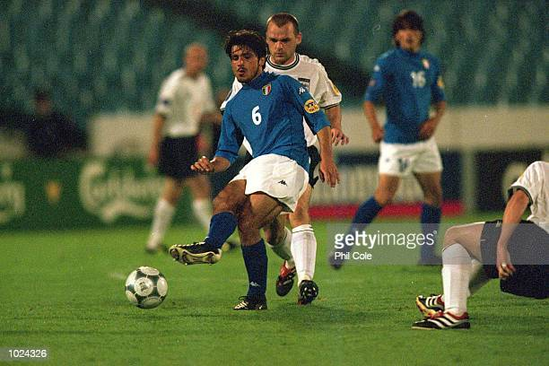 Reno Gattuso of Italy in action during the European Under 21 Championships Group B match against England at the Slovan Stadium Bratislava Slovakia...