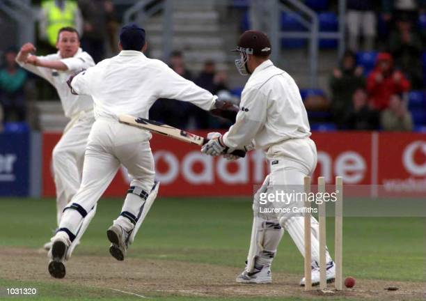 Robert Croft of Glamorgan celebrates the wicket of Ashley Ward of Surrey during the BH Semi final between Glamorgan and Surrey at Sophia Gardens in...