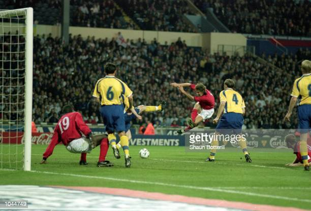 Tony Adams scores the Second goal for England during the International Friendly between England and the Ukraine at Wembley Stadium in London The game...