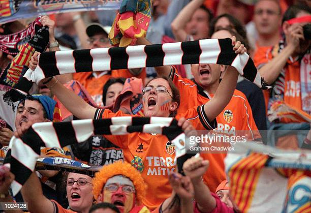 Valencia fans cheer their side on during the European Champions League Final 2000 at the Stade de France SaintDenis France Real Madrid won 30...
