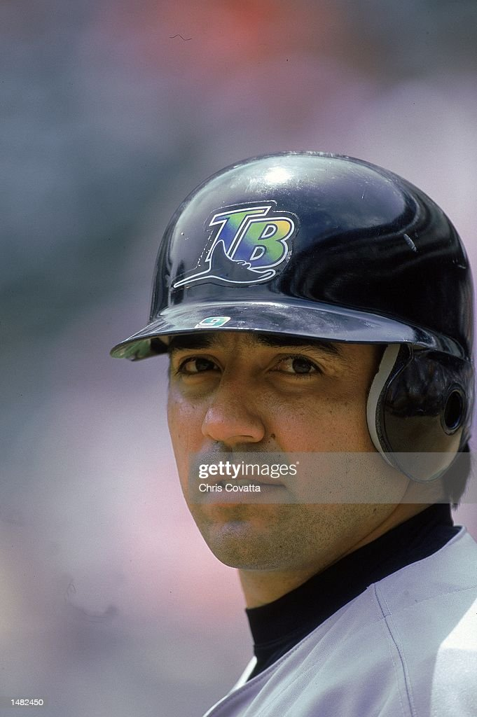 Vinny Castilla of the Tampa Bay Devil Rays watches the action during a game against the Texas Rangers at The Ball Park in Arlington Texas The Rangers...
