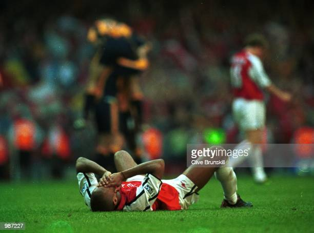 A dejected Thierry Henry of Arsenal after the AXA sponsored 2001 FA Cup Final between Arsenal v Liverpool at the Millennium Stadium Cardiff Mandatory...