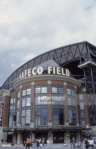 A general view of the exterior of Safeco Field before the game between the Toronto Blue Jays and the Seattle Mariners in Seattle Washington The...