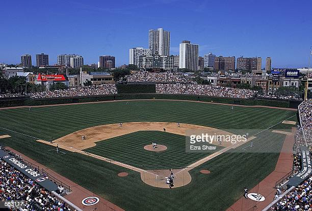 A general view of the game between the Chicago Cubs and the Arizona Diamondbacks at Wrigley Field in Chicago Illinois The Cubs defeated the...