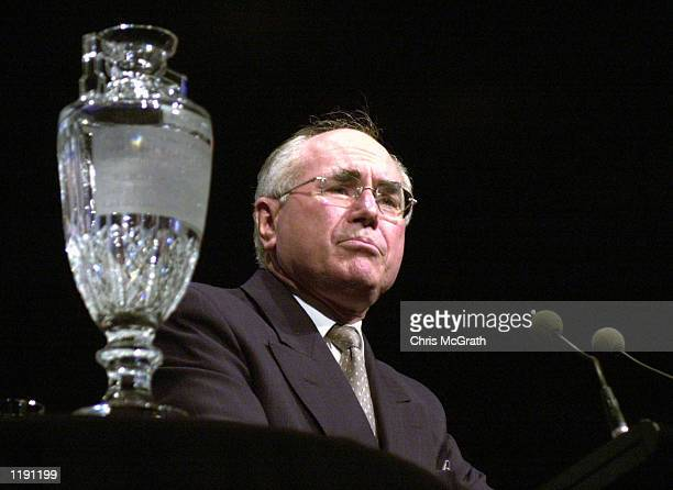 Australian Prime Minister John Howard during his speech at the Australian Cricket team's Ashes Tour farewell lunch held at the Darling Harbour...