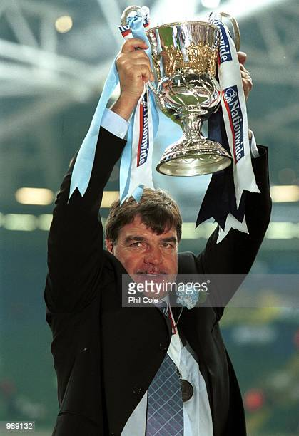 Bolton manager Sam Allardyce celebrates his team gaining promotion to the Premiership during the match between Bolton Wanderers and Preston North End...