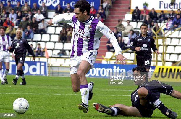 Ciric of Valladolid and Sanz of Malaga in action during a Primera Liga match played between Valladolid and Malaga at the Jose Zorrilla Stadium...