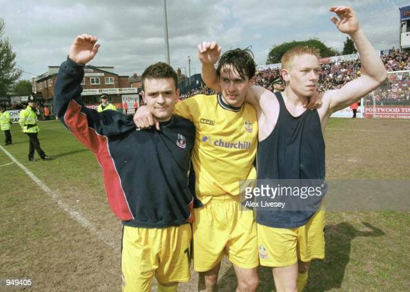 Crystal Palace players Steve Thomson goalscorer Dougie Freedman and Mikael Forssell celebrate their dramatic escape and survival in Division One...
