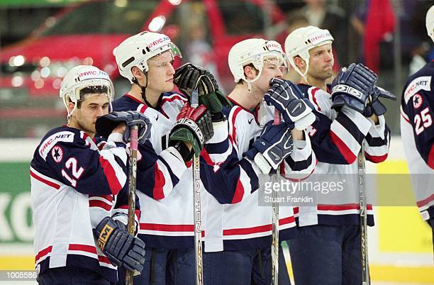 Dejection for the USA team after the IIHF World Ice Hockey Championship Third place playoff defeat against Sweden played at the Preussag Arena in...